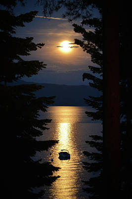 Photograph - Full Moon Rising Over Lake Tahoe by Carmen Tosca