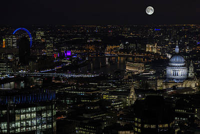 Full Color Moon Rising Over London Skyline  Art Print