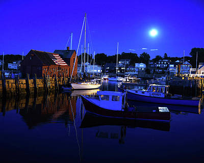 Photograph - Full Moon Rising Over Motif  Number 1 Rockport Ma Blue Sky by Toby McGuire
