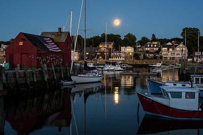 Photograph - Full Moon Rising Over Motif  Number 1 Rockport Ma Moonrise by Toby McGuire