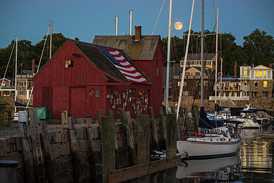 Photograph - Full Moon Rising Over Motif  Number 1 Rockport Ma by Toby McGuire
