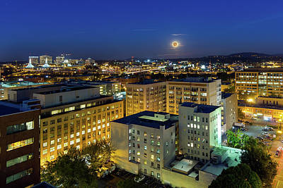 Photograph - Full Moon Rising Over Portland Downtown by David Gn