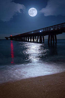 Photograph - Full Moon Rising Over The Pompano Beach Pier by Justin Kelefas