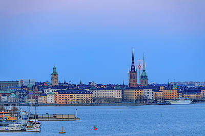 Photograph - Full Moon Rising Over The Trio Of Gamla Stan Churches In Stockholm by Dejan Kostic