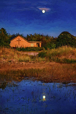 Sauble Photograph - Full Moon Rising - Sauble Beach - Paint by Steve Harrington