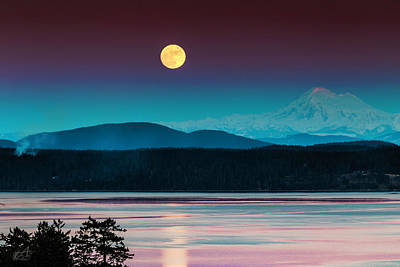 Baker Island Photograph - Full Moon Rising  by Thomas Ashcraft