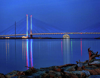 Photograph - Full Moon Rising Under The Indian River Bridge by Bill Swartwout Photography