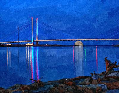 Photograph - Full Moon Rising Under The Indian River Bridge Painterly Style by Bill Swartwout