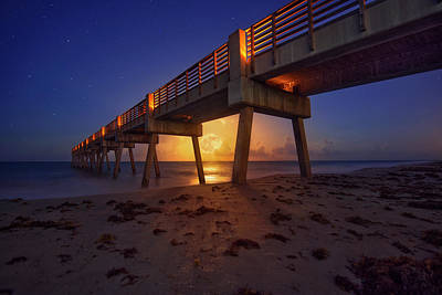 Photograph - Full Moon Rising Under Vero Beach Pier by Justin Kelefas