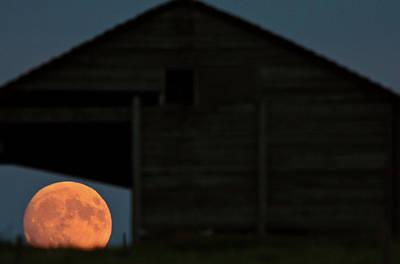 Full Moon Seen Through Old Building Window Art Print by Mark Duffy