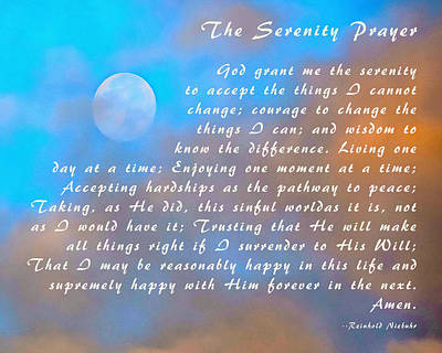 With Red Photograph - Full Moon Serenity Prayer Digital by Floyd Snyder