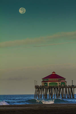 Photograph -  Full Moon Setting At The Pier  by Duncan Selby