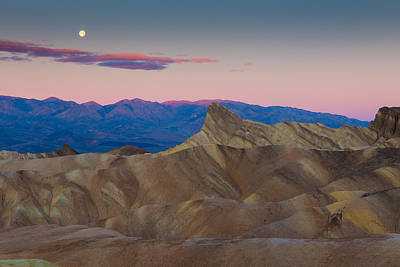 Photograph - Full Moon Setting At Zabriskie Point Death Valley  by Duncan Selby