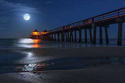 Photograph - Full Moon Setting Over Naples Pier Beach At Night by Justin Kelefas