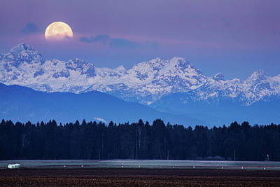 Photograph - Full Moon Setting Over The Julian Alps by Ian Middleton