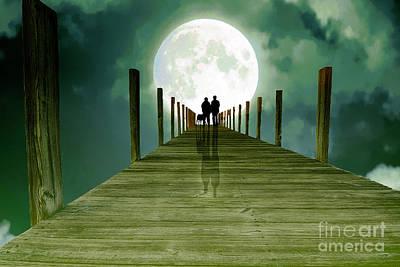 Full Moon Silhouette Art Print by Mim White
