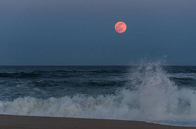Seaside Heights Photograph - Full Moon Splash Seaside Nj by Terry DeLuco