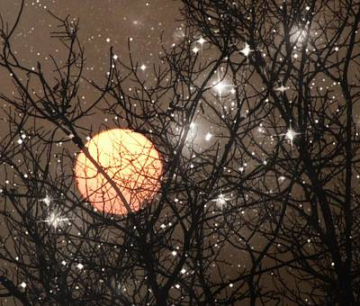 Surrealism Royalty Free Images - Full Moon Starry Night Royalty-Free Image by Marianna Mills