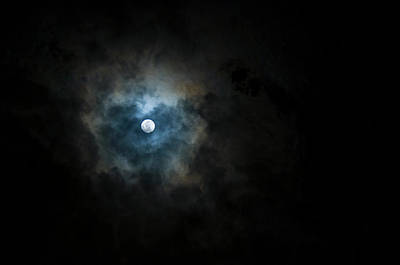 Full Moon Photograph - Full Moon Through The Clouds by Malcolm Ainsworth