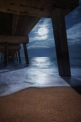Photograph - Full Moon Under The Juno Beach Pier by Justin Kelefas