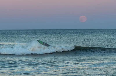 Catch A Wave Photograph - Full Moon Wipe Out Seaside Nj by Terry DeLuco