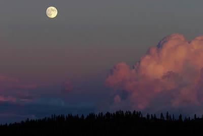 Photograph - Full Moonrise, Newman Lake, Washington, Usa by Robert Mutch