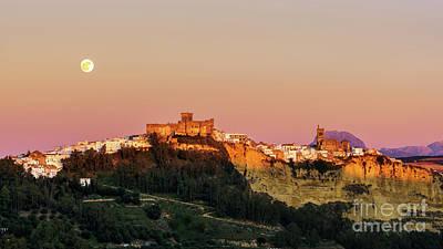 Photograph - Full Moonrise Over Arcos De La Frontera Cadiz Spain by Pablo Avanzini