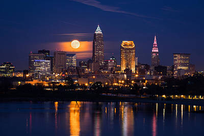 Stadium Scene Photograph - Full Moonrise Over Cleveland by Dale Kincaid