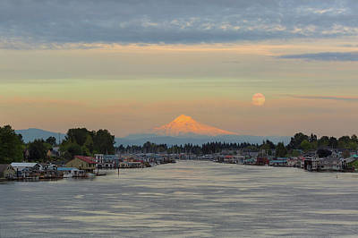 Photograph - Full Moonrise Over Mount Hood Along Columbia River by David Gn