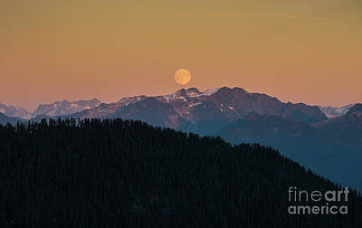Photograph - Full Moonrise Over The North Cascades by Mike Reid