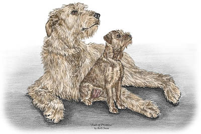 Kelli Drawing - Full Of Promise - Irish Wolfhound Dog Print Color Tinted by Kelli Swan