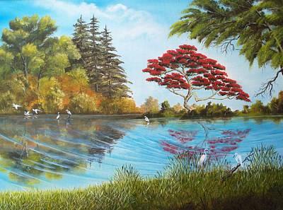 Full Red Tree Art Print by Dennis Vebert