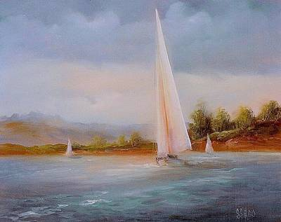 Sailboat Ocean Painting - Full Sails by Sally SEago