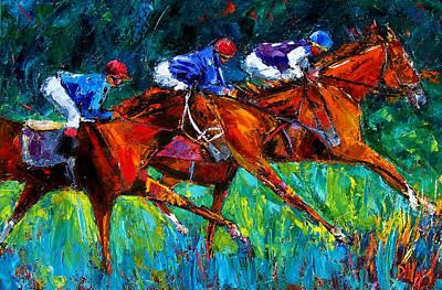 Kentucky Derby Painting - Full Speed by Debra Hurd