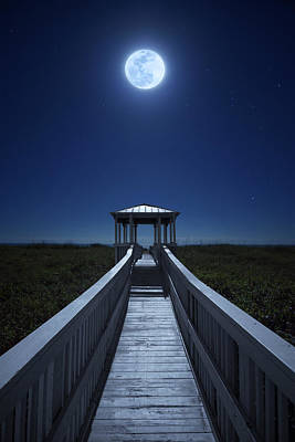 Photograph - Full Super Moon Over Beach Pavilion In Hutchinson Island, Florida by Justin Kelefas