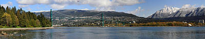 Full View Of The Lion's Gate Bridge Vancouver City  Art Print by Pierre Leclerc Photography