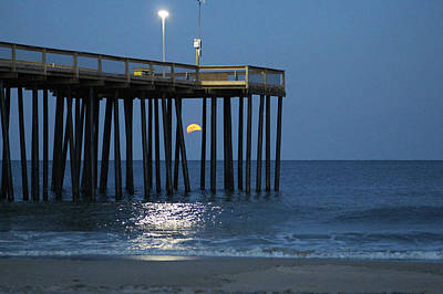 Photograph - Full Worm Moon Thru The Pier by Robert Banach