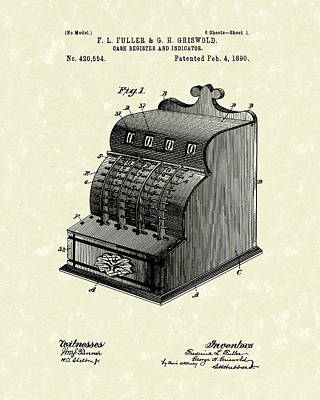 Cash Register Drawing - Fuller And Griswold Cash Register 1890 Patent Art by Prior Art Design