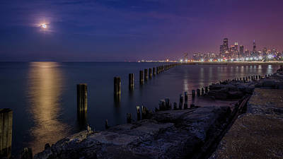 Photograph - Chicago Fullerton Beach Under The Moon  by Patrice Bilesimo