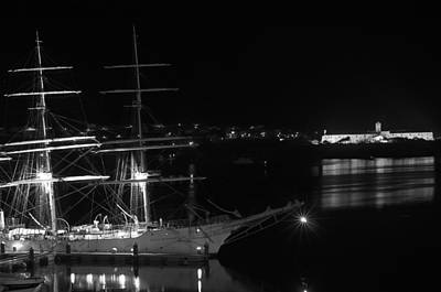 Photograph - fully rigged in Port Mahon at night by Pedro Cardona