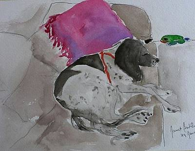 Fulmi And Pink Pillow Art Print by Janet Butler