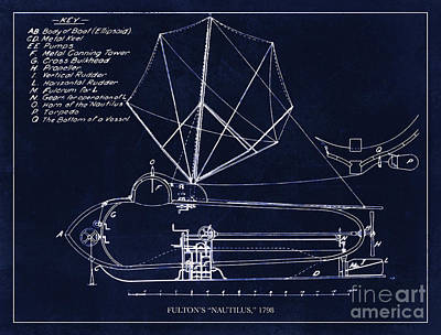 Restored Drawing - Fultons Nautilus Submarine Blueprint Drawing Circa 1798 by Tina Lavoie