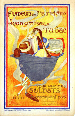 Mixed Media - Fumeurs De L'arriere Economisez Le Tabac - Soldiers' Helmet Filled With Tobacco - Vintage Poster by Studio Grafiikka