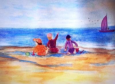 Painting - Fun At Low Tide by Anne Sands