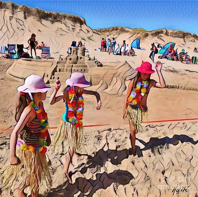 Sand Castles Digital Art - Fun At The Beach  by Aline Halle-Gilbert