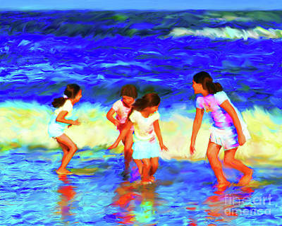 Digital Art - Fun At The Beach by Diane Macdonald