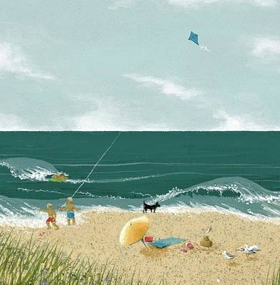 Painting - Fun At The Beach by Katherine Young-Beck