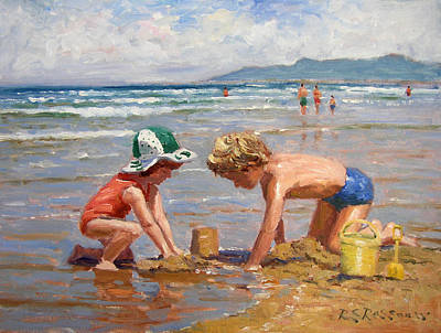 Children Playing On Beach Painting - Fun At The Beach by Roelof Rossouw