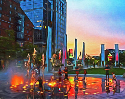 Photograph - Fun At The Fountain Painteryly Boston Ma by Toby McGuire