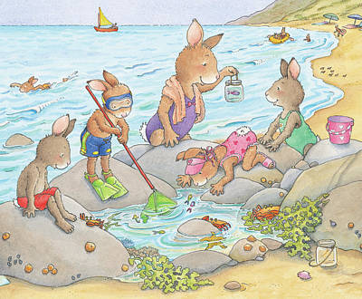 Wall Art - Painting - Fun At The Tide Pool by June Goulding